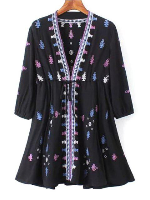 fancy 3/4 Sleeve Embroidered Drawstring Tunic Dress - BLACK L Mobile