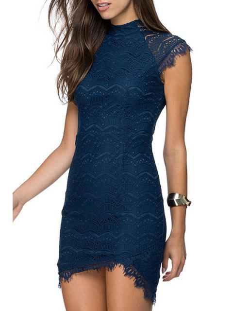 shops Round Neck Asymmetrical Lace Dress - BLUE XL Mobile