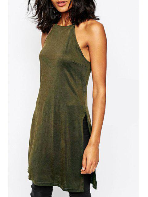 best Solid Color Spaghetti Strap Side Slit Dress - ARMY GREEN S Mobile