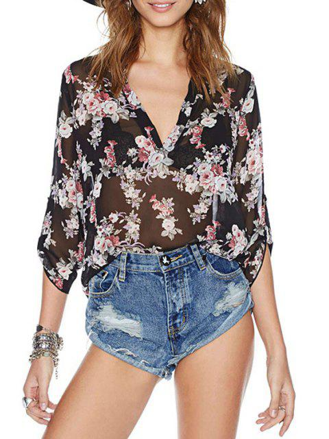buy See-Through Floral Print 3/4 Sleeve Shirt - BLACK S Mobile