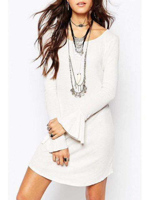 affordable Bell Sleeve Irregular Hem White Sweater Dress - WHITE XL Mobile