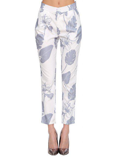 shop Floral Leaves Print Pants - WHITE M Mobile