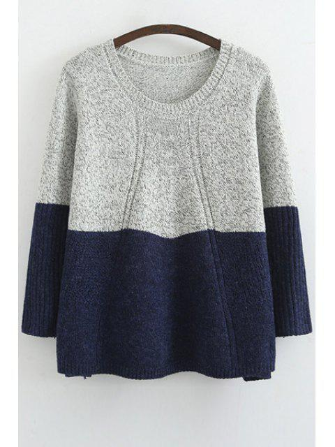 latest Scoop Neck Color Block Long Sleeve Sweater - BLUE ONE SIZE(FIT SIZE XS TO M) Mobile