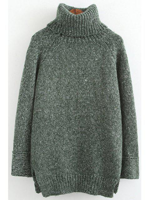 sale Turtle Neck High Low Slit Long Sleeve Sweater - GREEN ONE SIZE(FIT SIZE XS TO M) Mobile
