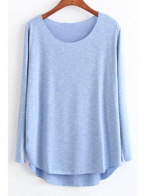 T-shirt à style casual à couleur claire à col rond à manches longues à coupe haut bas - Bleu Foncé Taille Unique(S'adap Mobile