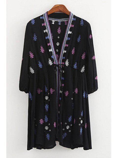 sale Geometric Pattern Embroidery Long Sleeve Blouse - DEEP BLUE S Mobile