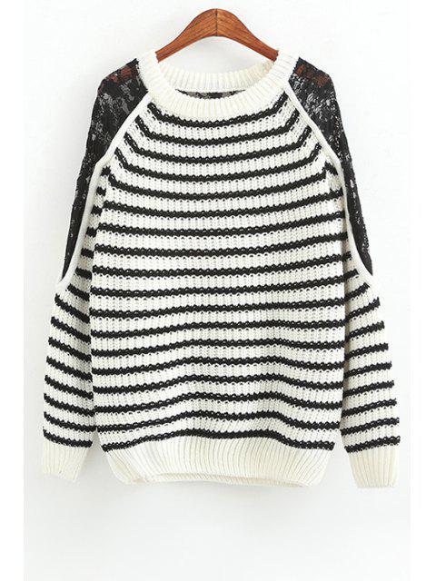 womens White Black Stripe Lace Splicing Sweater -   Mobile
