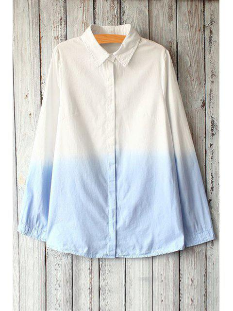 hot White Blue Print Long Sleeve Shirt - BLUE AND WHITE ONE SIZE(FIT SIZE XS TO M) Mobile