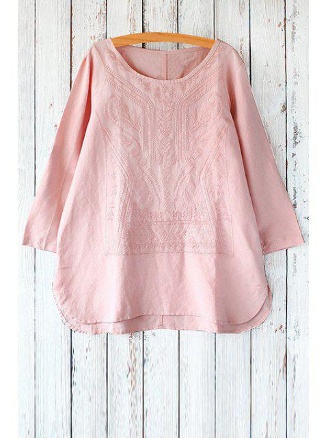 affordable Embroidery High Low Long Sleeve T-Shirt -   Mobile