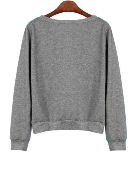 chic Letter Print Loose Fitting Sweatshirt - GRAY XL Mobile