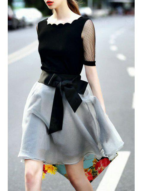 trendy Lace Spliced Short Sleeve T-Shirt and Voile Skirt Suit - BLACK AND GREY L Mobile