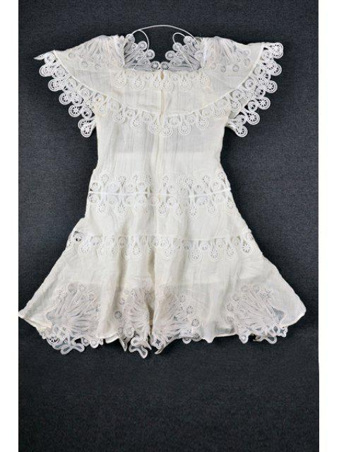 online Hollow Out Lace Splicing Short Sleeve Dress - WHITE M Mobile