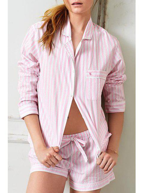 sale Striped Long Sleeve Top and Shorts Sleepwear Suit - PINK XS Mobile