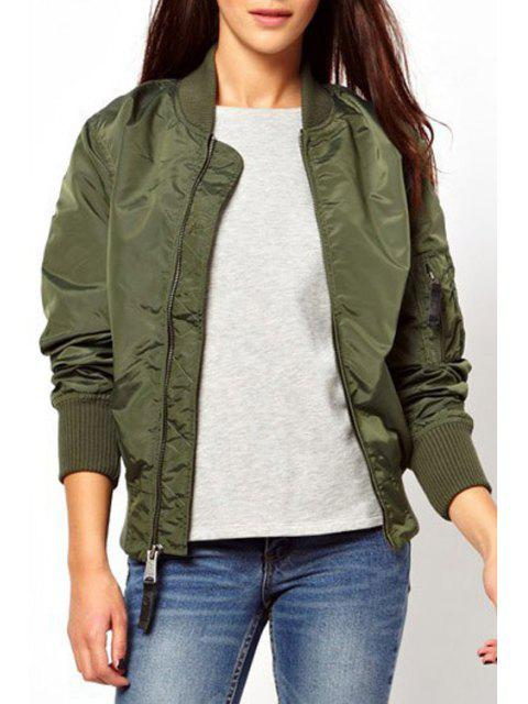 chic Solid Color Stand Collar Long Sleeves Jacket - ARMY GREEN S Mobile