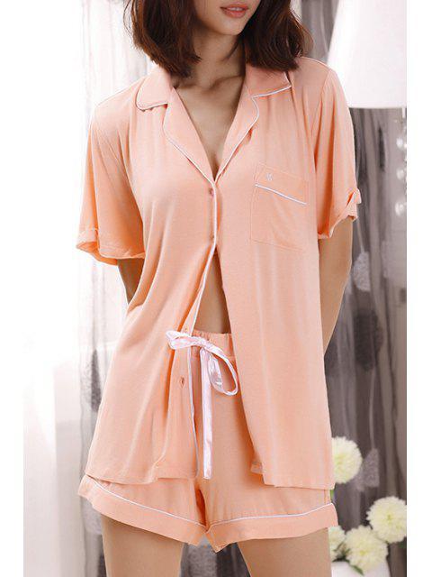 online Pocket Short Sleeve Shirt + Shorts - LIGHT RED M Mobile
