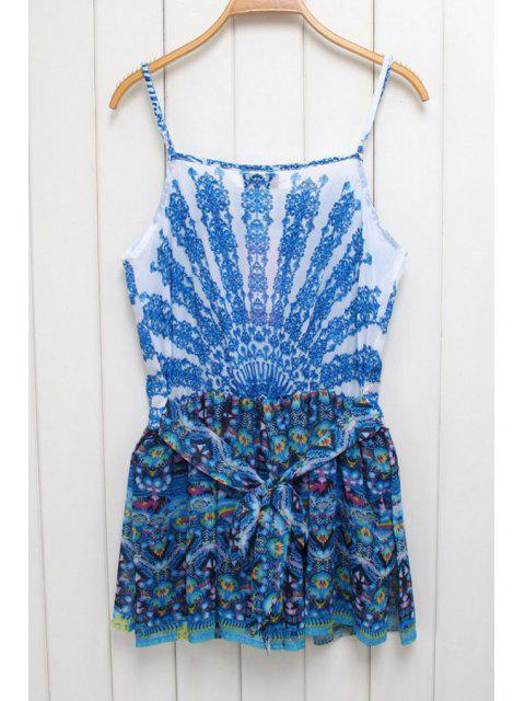 hot Ethnic Print Cami Beaded Playsuit - BLUE S Mobile
