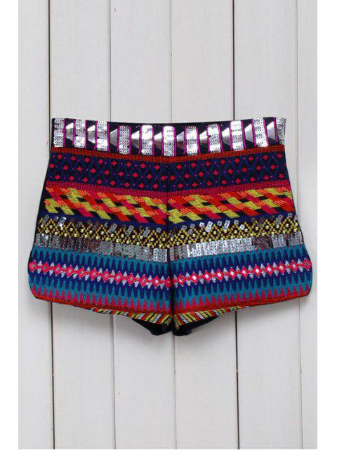 shops Ethnic Pattern Straight Leg Shorts - BLACK M Mobile
