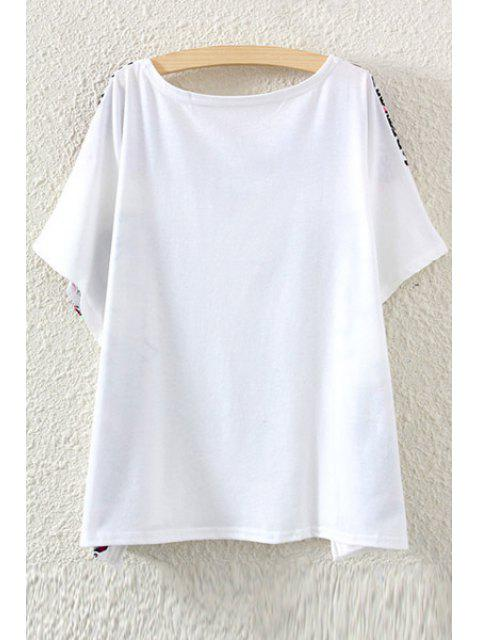 womens Floral Elephant Print Short Sleeve T-Shirt - WHITE ONE SIZE(FIT SIZE XS TO M) Mobile