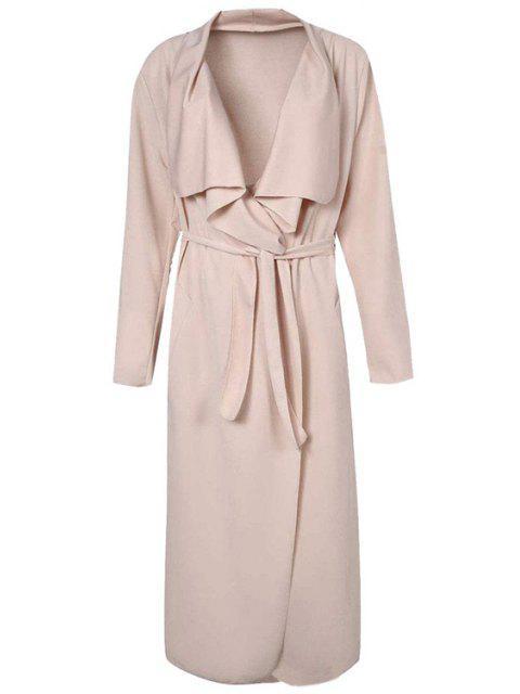 Manteau en tricot asymétrique en couleur solide - Abricot 2XL Mobile