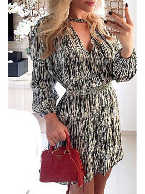 outfit Long Sleeve Printed Tunic Dress - WHITE AND BLACK XL Mobile