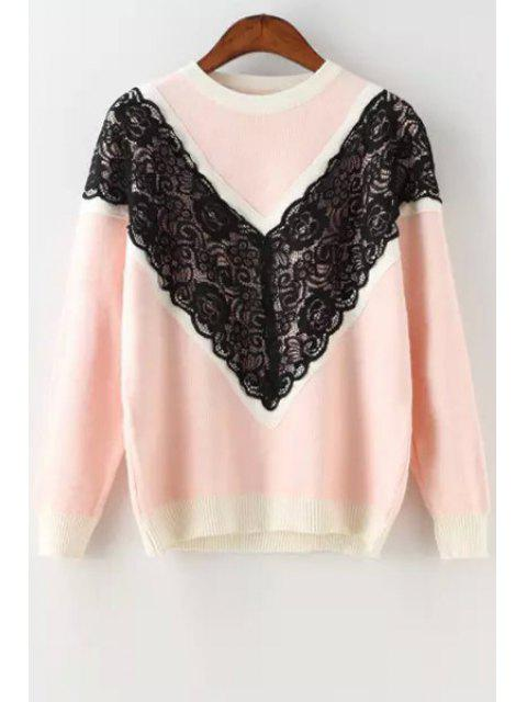 womens Black Lace Splicing Long Sleeve Sweater - PINK ONE SIZE(FIT SIZE XS TO M) Mobile