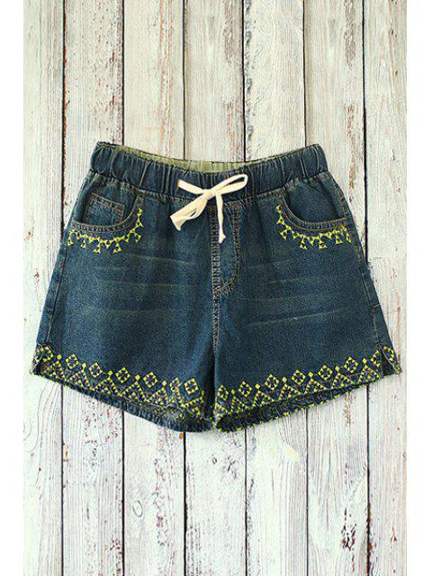online Straight Leg Embroidered Denim Shorts - DEEP BLUE ONE SIZE(FIT SIZE XS TO M) Mobile