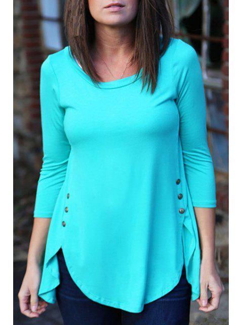shop Irregular Hem Long Sleeve T-Shirt - BLUE XL Mobile