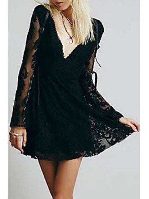 fashion Deep V Neck Embroidered See-Through Dress - BLACK L Mobile