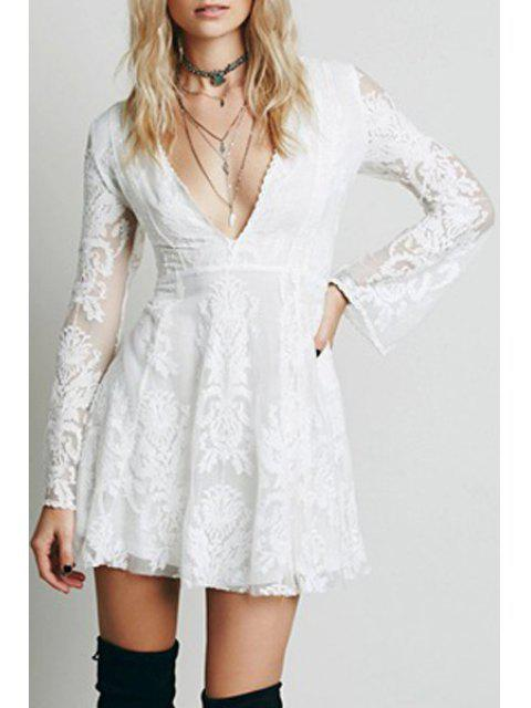 affordable Deep V Neck Embroidered See-Through Dress - WHITE L Mobile