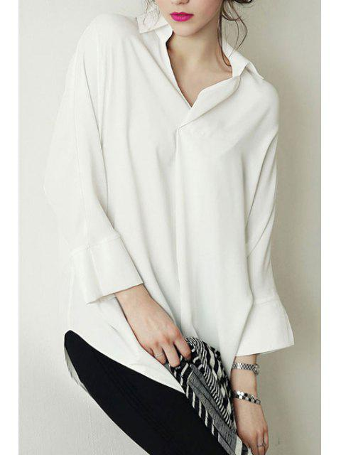 trendy Long Sleeve Loose-Fitting Chiffon Shirt - WHITE L Mobile