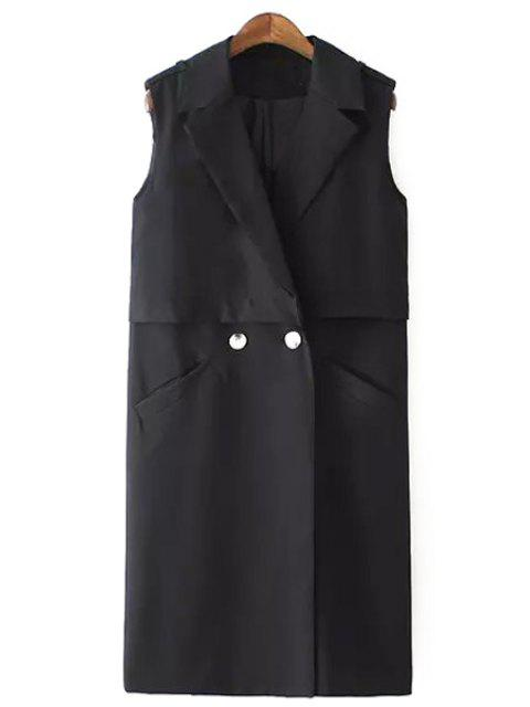 shops Solid Color Two Buttons Sleeveless Trench Coat - BLACK S Mobile