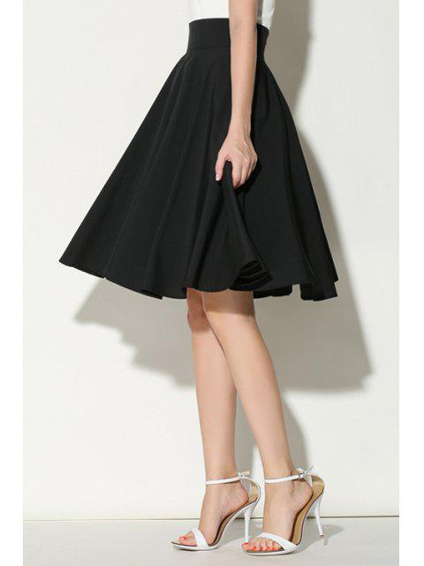 best Solid Color Ruffled A-Line Midi Skirt - BLACK M Mobile