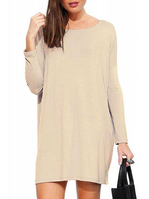 ladies Solid Color Scoop Neck Long Sleeve Dress - KHAKI L Mobile
