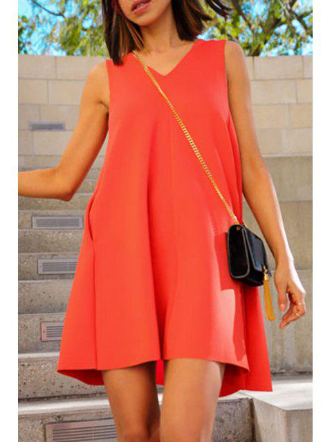 sale Solid Color Sleeveless Flare Dress - JACINTH XL Mobile