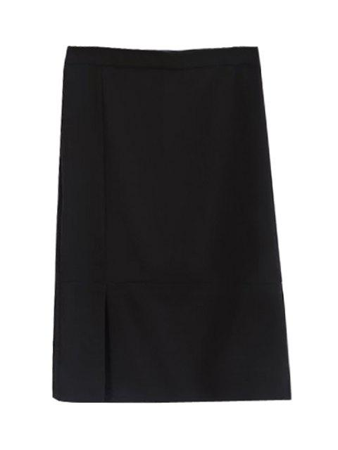 fancy Black High Waisted Bodycon Skirt - BLACK L Mobile