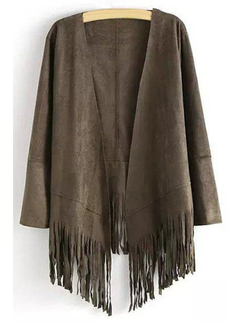 ladies Open Front Tassels Spliced Sueded Coat - SMOKY GRAY M Mobile