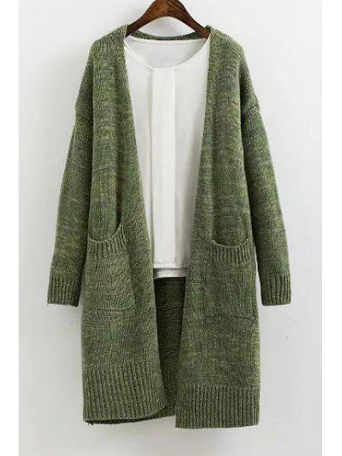 best Solid Color Long Sleeves Maxi Cardigan - GREEN ONE SIZE(FIT SIZE XS TO M) Mobile