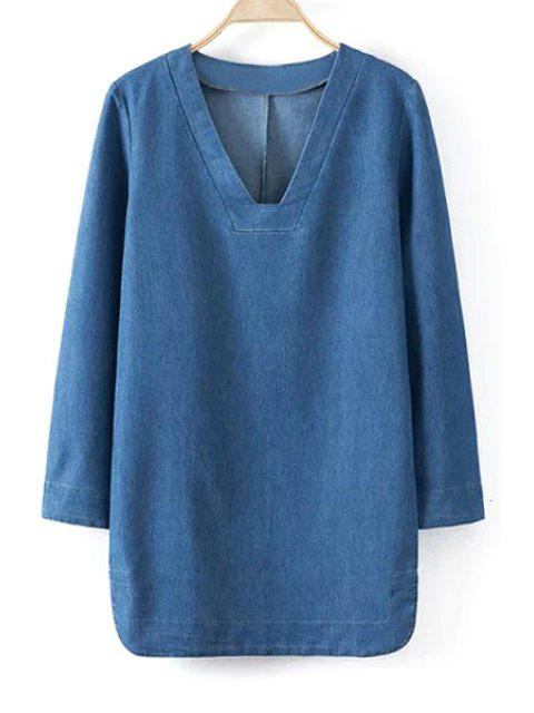 women Blue Denim V Neck Long Sleeve Dress - BLUE M Mobile