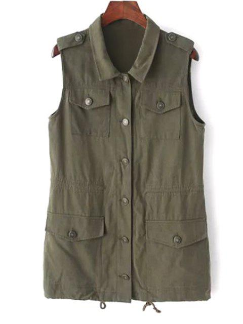 outfit Turn Down Collar Solid Color Waistcoat - ARMY GREEN M Mobile