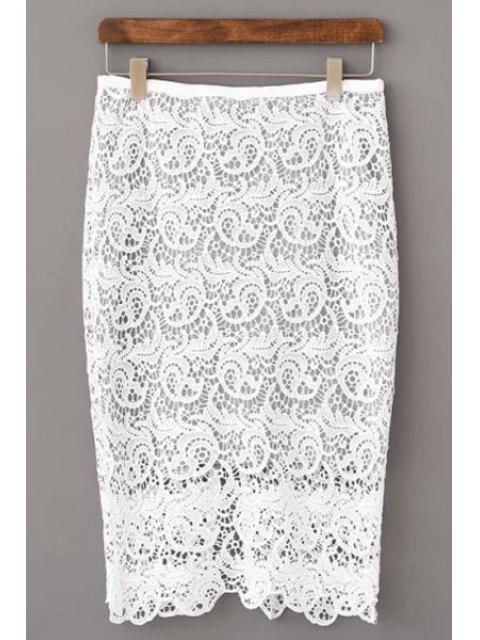 unique Openwork Lace Hook Pencil Skirt - WHITE M Mobile