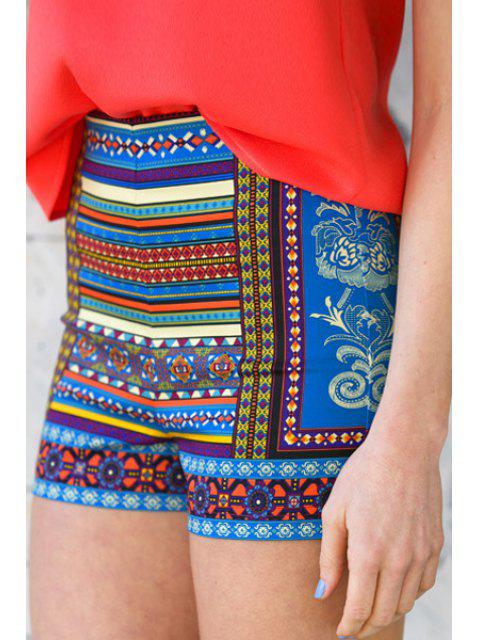 online Colorful Floral Stripe Print Shorts - COLORMIX L Mobile
