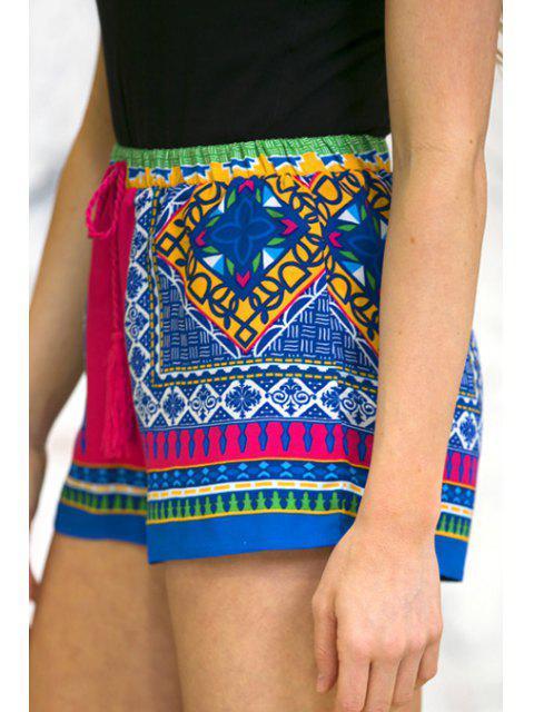 affordable Color Block Plaid Print Shorts - COLORMIX M Mobile