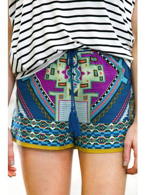 sale Color Block Abstract Print Shorts - COLORMIX L Mobile