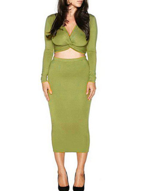 latest Long Sleeve Front Twist Crop Top and Pencil Skirt Suit - GREEN L Mobile