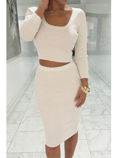 affordable Long Sleeve Crop Top + Solid Color Pencil Skirt Twinset - WHITE S Mobile