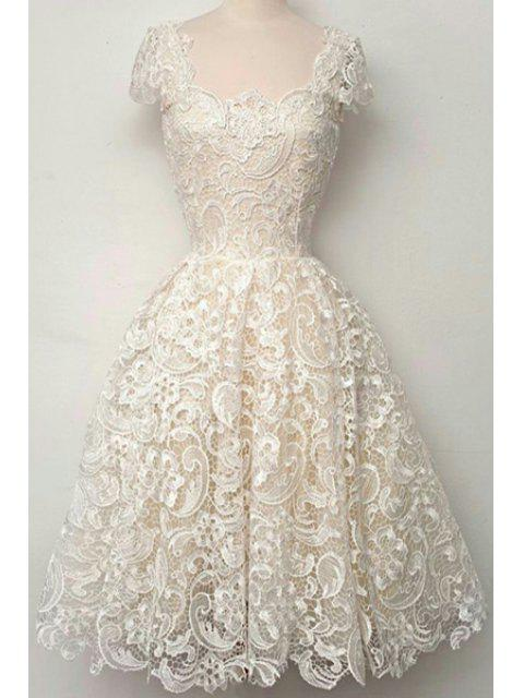 outfits Openwork Lace Hook Ball Gown Dress - WHITE XL Mobile