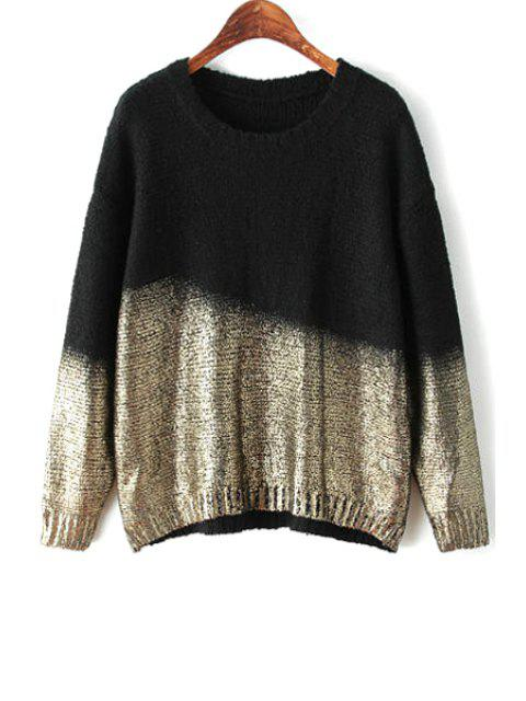 fashion Black Gilding Long Sleeve Sweater - BLACK ONE SIZE(FIT SIZE XS TO M) Mobile