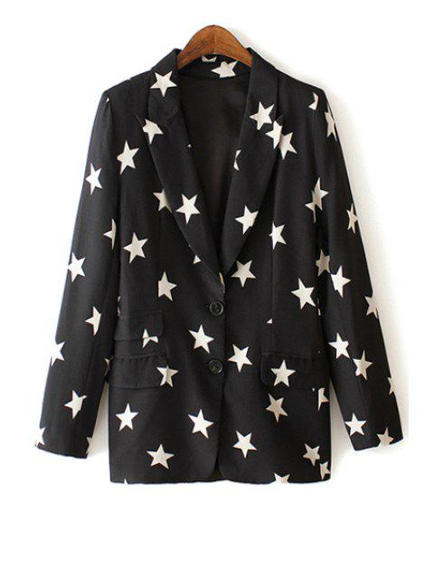 shops Lapel White Star Print Long Sleeve Blazer - BLACK M Mobile