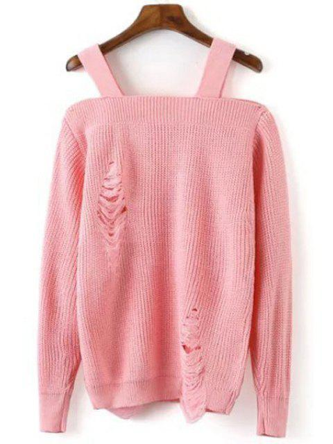 lady Broken Hole Square Neck Long Sleeve Sweater - PINK ONE SIZE(FIT SIZE XS TO M) Mobile