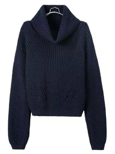 hot Turtle Neck Openwork Solid Color Sweater - DARK BLUE ONE SIZE(FIT SIZE XS TO M) Mobile